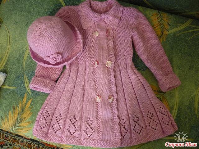 Вязание детского пальто для девочек крючком 846