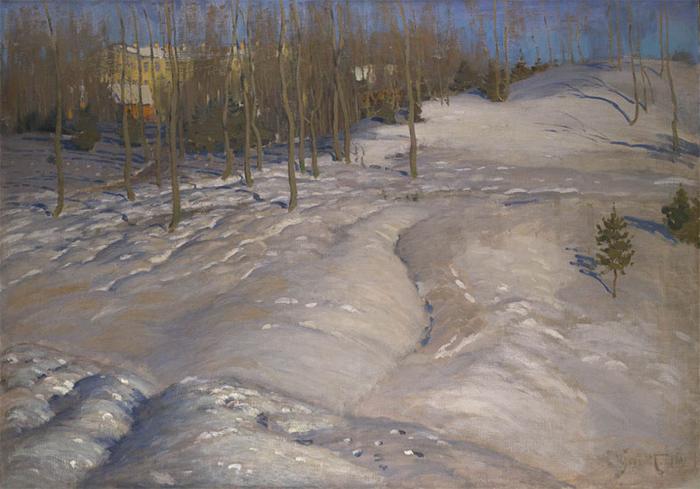 Зимний пейзаж (мартовский вечер), ок.1900 (700x489, 366Kb)