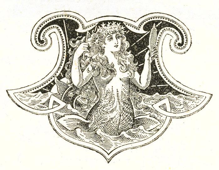 Русалка на комоде. Изображение для распечатки (3) (700x542, 480Kb)