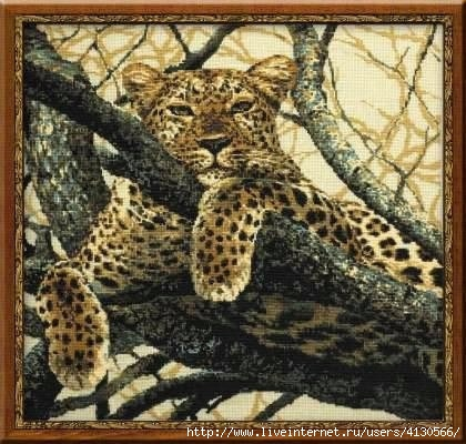 Леопард.Вышивка крестом.