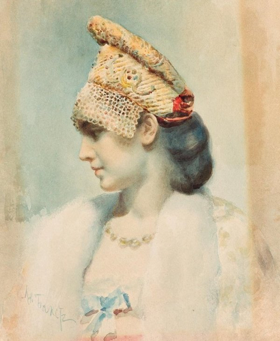 Портрет девушки в русском кокошнике. 1911 (575x700, 319Kb)