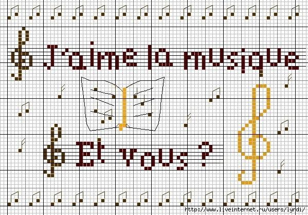 Музыкальная тема вышивка