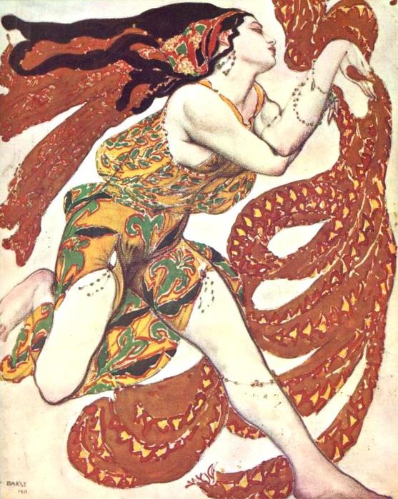 Эскиз костюма к балету Нарцисс - Вакханка, 1911 (557x700, 506Kb)