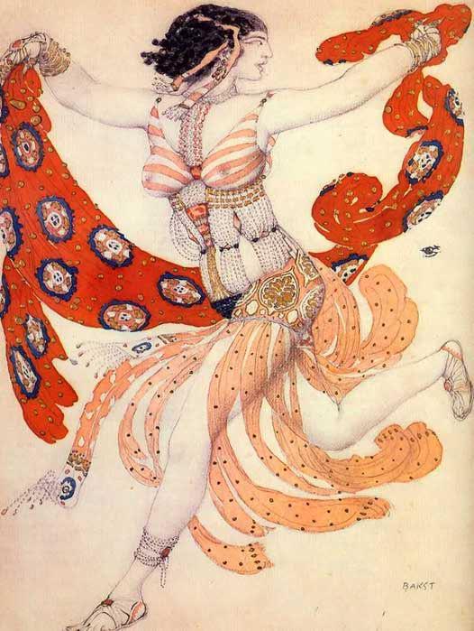 Эскиз костюма Клеопатры для Иды Рубинштейн к балету Клеопатра на музыку А.С.Аренского (526x699, 344Kb)