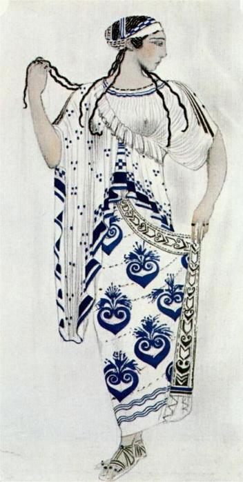 Эскиз костюма для Иды Рубинштейн в роли Елены в трагедии Елена в Спарте (352x700, 221Kb)