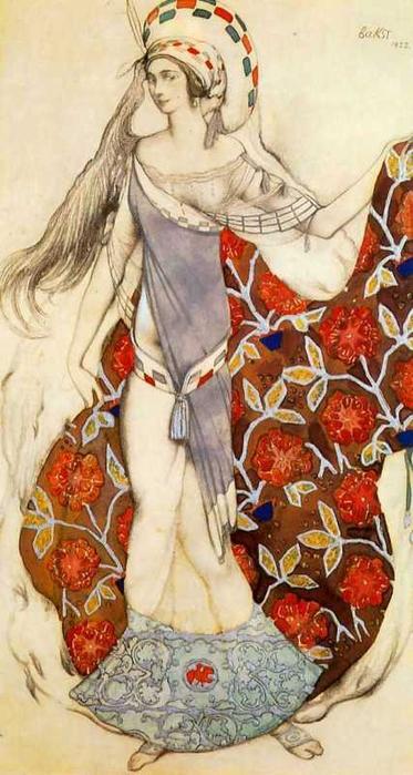 Эскиз костюма танцовщицы, держащей шлейф своего платья, к балету Поля Паре Смущенная Артемида, 1922 (373x700, 294Kb)