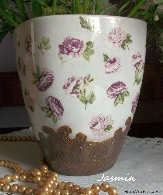 Стильная цветочная ваза из глиняного горшка (4) (537x640, 202Kb)