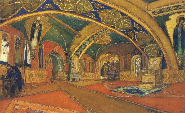 Эскиз декорации к постановке Борис Годунов, 1913 (700x428, 105Kb)