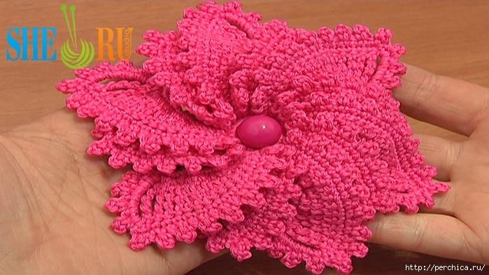 Вязание объемного цветка крючком фото