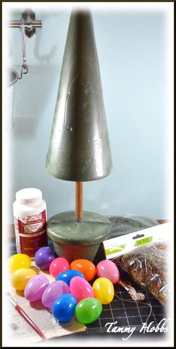 Винтажная елочка - топиарий с пасхальными яйцами (7) (352x700, 220Kb)