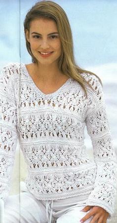 Красивый Белый Пуловер