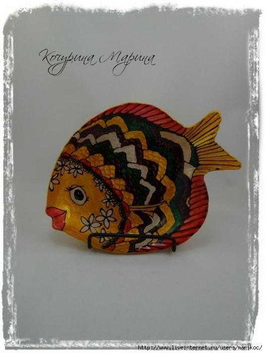 мини тарелочка рыбка с цветами (525x700, 214Kb)
