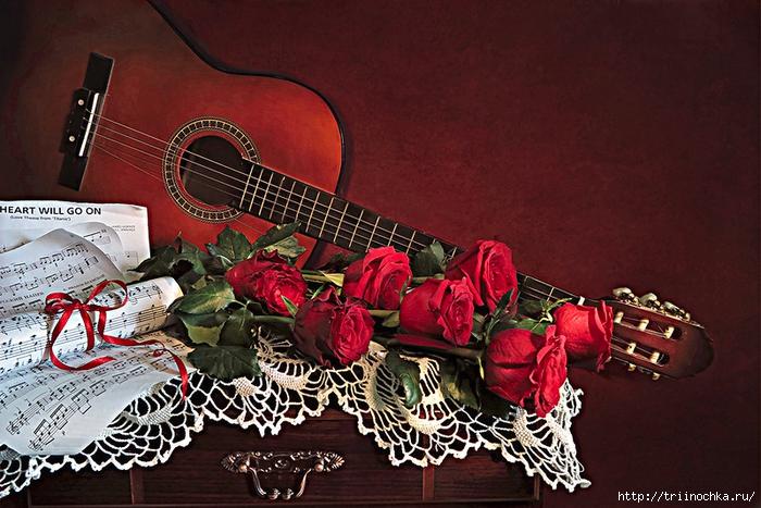 Астры, скатерть,гитара, fвиноград... Натюрморты