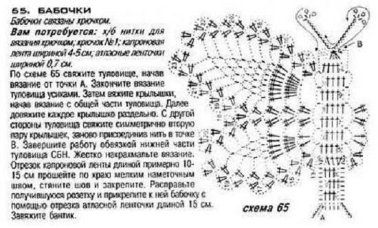 Бабочка крючком для детского летнего сарафана (2) (550x332, 147Kb)