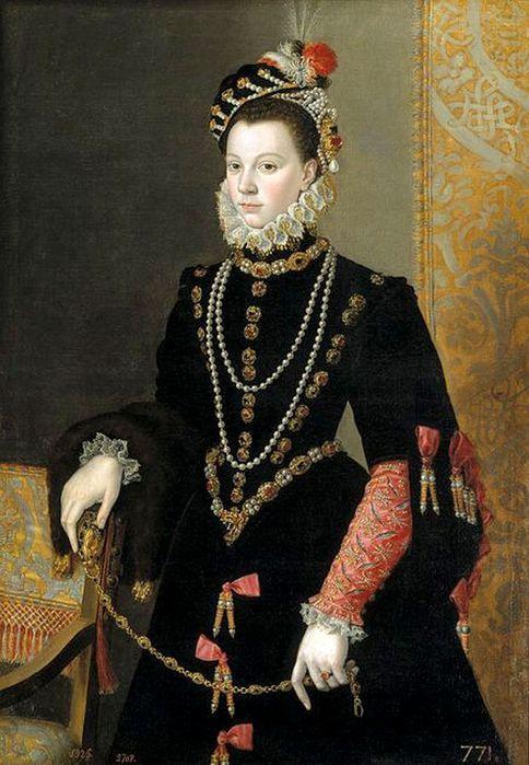 Juan Pantoja de la Cruz (1551-1608), . Портрет Елизаветы де Валуа. 1605. (484x700, 69Kb)