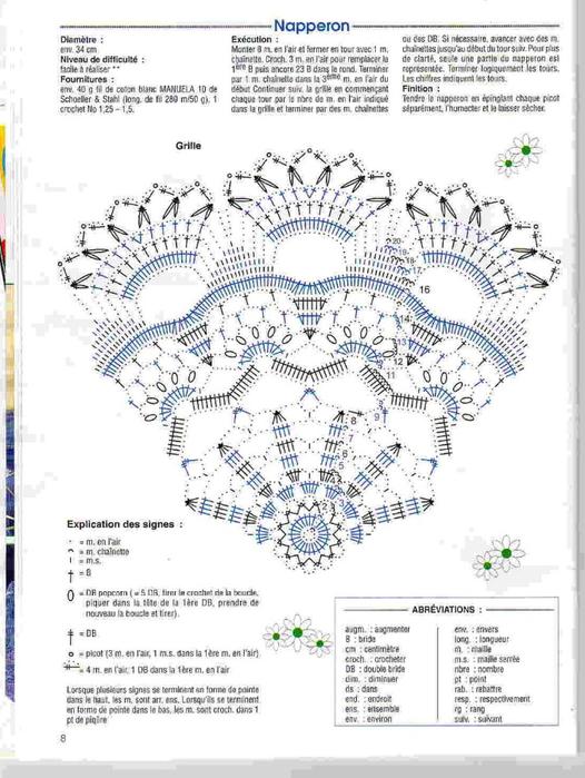 Вяжем крючком круглые салфетки. Схемы (5) (526x700, 271Kb)