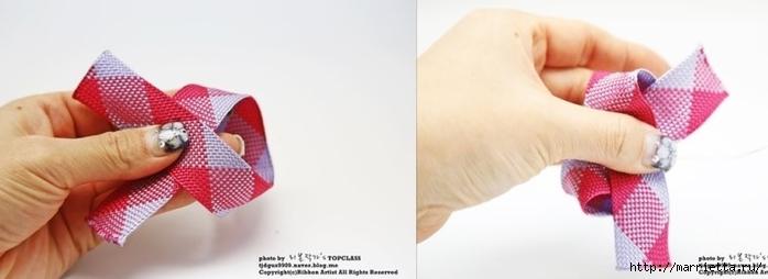 Украшение заколок для волос бантиком из тесьмы (7) (700x254, 91Kb)