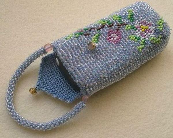 Вязание крючком с бисером чехол для телефона схемы и описание