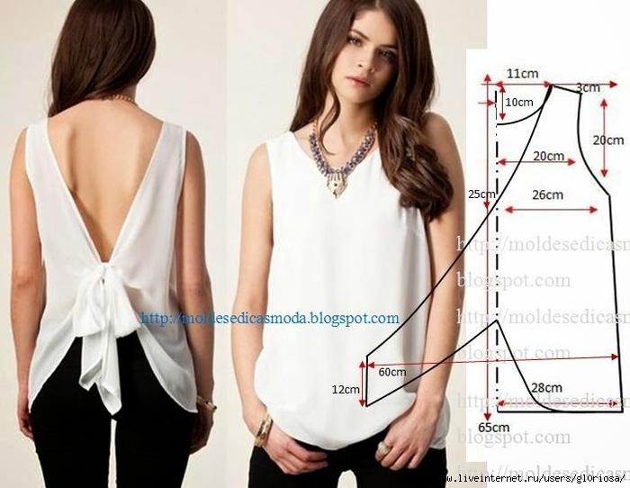 Выкройка блузки из шелка
