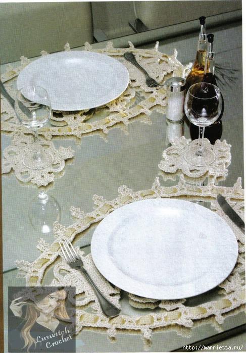 Вязание крючком. Овальные салфетки и подстаканники для стеклянного столика (6) (487x700, 343Kb)