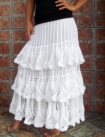 Длинная юбка крючком с