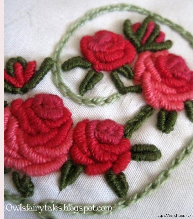 Вышивка по вязаному розы