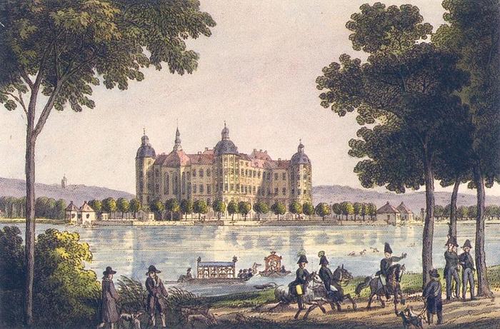 Schloss Moritzburg um 1800 (700x461, 406Kb)