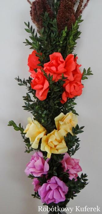Пасхальная ВЕРБА. Декоративная композиция из веточек вербы и цветов из гофрированной бумаги (38) (333x700, 230Kb)