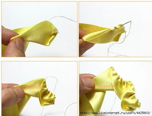 Видео как сделать розочки из атласной ленты своими руками