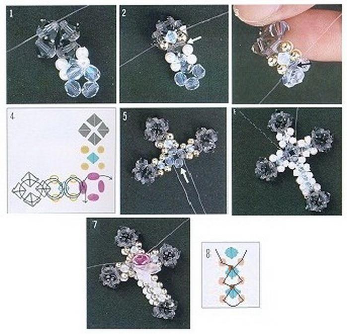 Как сделать крестик из бусин своими руками