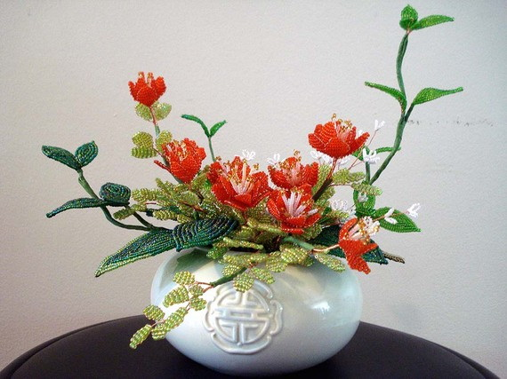 Цветок из бисера с ольгой