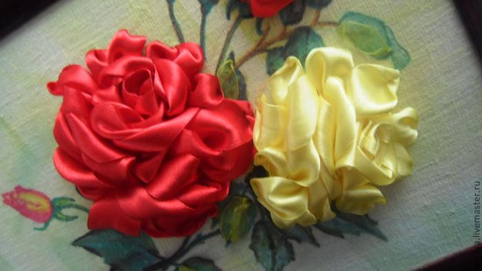 Вышивка лентами розы-мастер класс 94