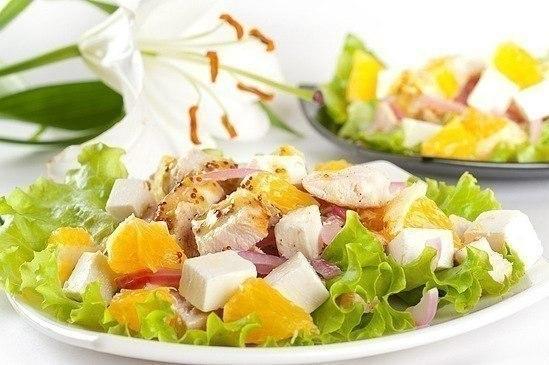 Салат с апельсинами куриным филе (549x365, 50Kb)