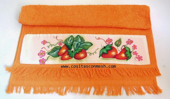Роспись по ткани. Земляника для украшения полотенца (11) (700x409, 342Kb)