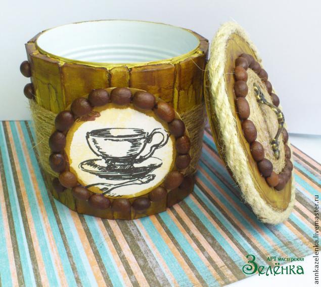Кофейные мотивы. Сахарница из баночки и картона (14) (635x567, 297Kb)