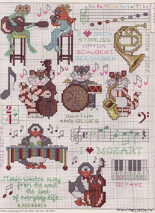 Музыкальная в вышивке схемы 938