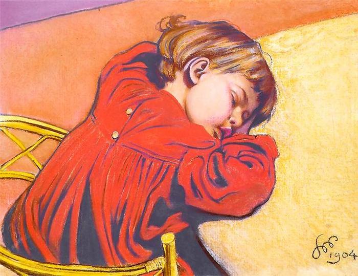 Спящий Стасик (портрет сына художника) (700x539, 471Kb)