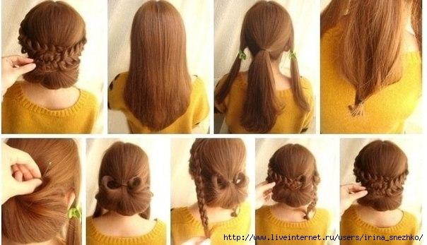 Прически в школу для длинных волос самой себе