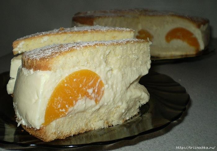 Легкий тортик с персиками...мммм... йогуртово-творожный