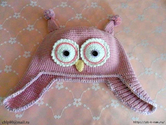 шапочка - сова с ушками, шапочка - сова, вязаная шапочка с ушками, как связать крючком детскую шапочку сову, веселые детские шапочки,