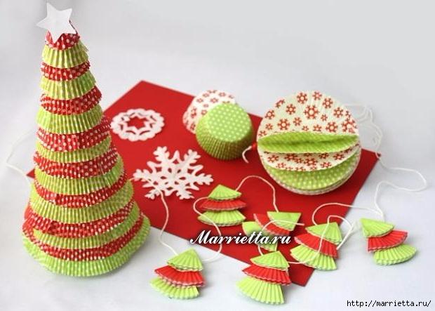 Новогоднее применение бумажных стаканчиков для кексов (12) (620x443, 158Kb)