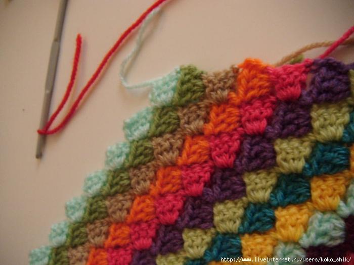 Коврик крючком диагональное вязание