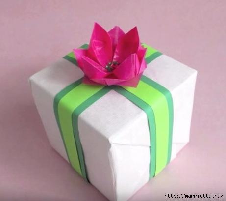 Лотос из бумаги для декорирования подарка (1) (461x409, 73Kb)