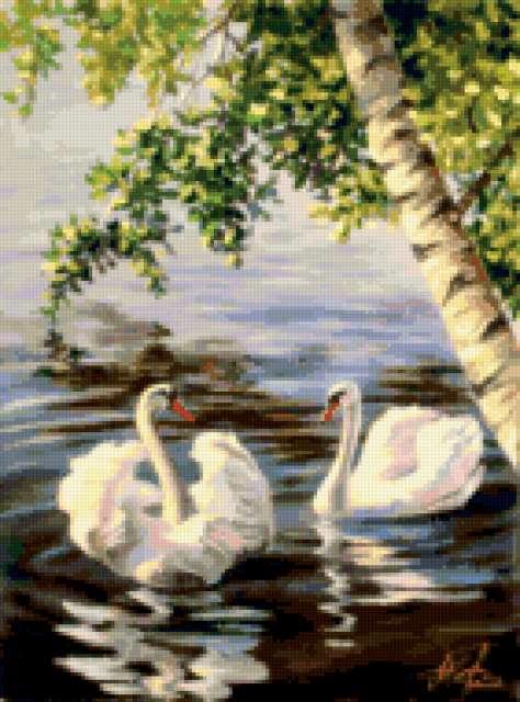 лебеди под деревом (474x640, 302Kb)