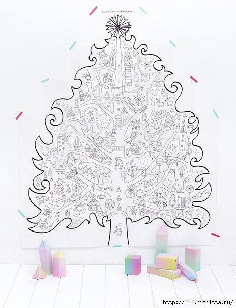 Гигантская новогодняя раскраска. Пора приступать! Распечатывайте, склеивайте и наслаждайтесь всей семьей (464x604, 151Kb)