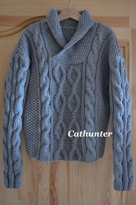 вязаный женский пуловер с косами доставка