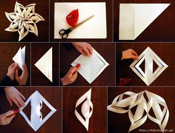 Как сделать объемную снежинки своими руками из бумаги