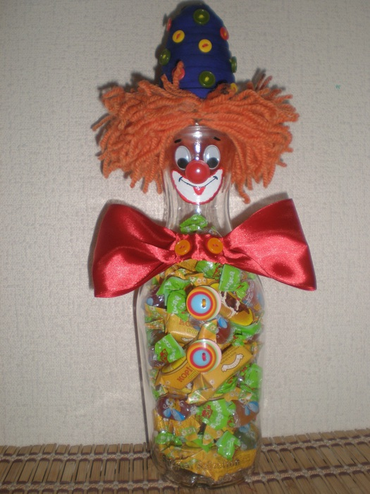 Кукла своими руками на бутылке клоун мк видео