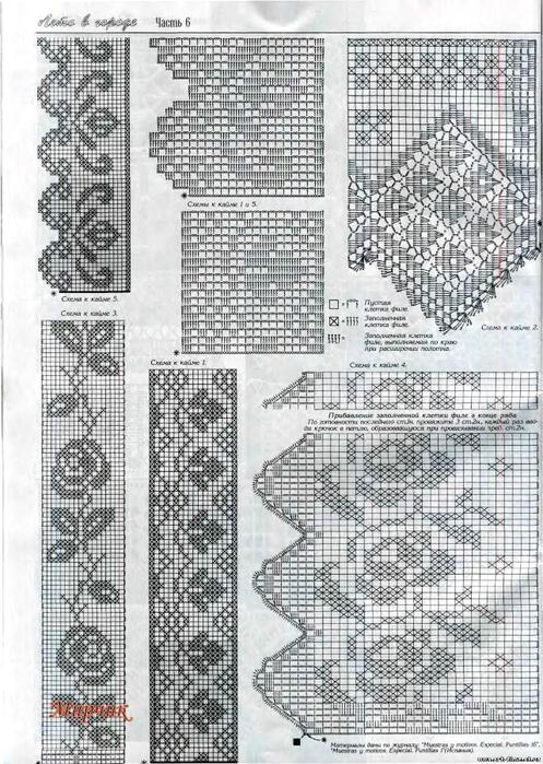 Вязание крючком - филейное - кайма Записи в рубрике Вязание крючком