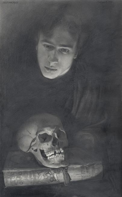 Чернов Денис. Автопортрет с черепом (405x650, 145Kb)